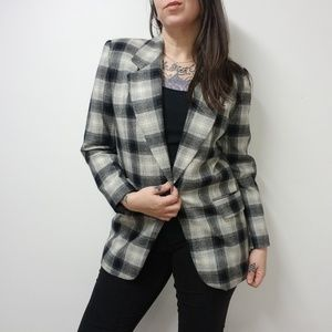 vtg 80s/90s AMANDA SMITH Plaid Wool Blazer